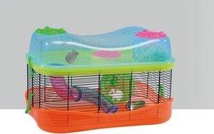 Imac Fantasy Green & Orange Hamster Cage With Tubes & Wheel 58x37x37cm