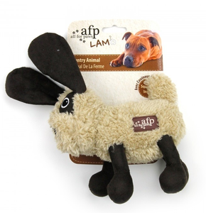 Lambswool Cuddle Animal Rabbit Beige & Black 1pc (20x18x6cm)
