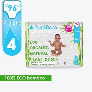 Pure Born Size 4 Value Packs 7 To 12Kg 96s