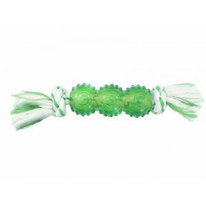 Chomper Dental Rope Bone With TPR Tube Green 1pc