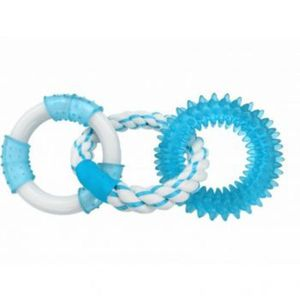Chomper Triple Rings With TPR Spike, Rope & Nylon Blue 4pk