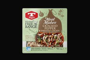 Tegel Free Range Meal Maker Cracked Pepper Shredded Chicken 250g