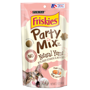 Purina Friskies Natural Cat Treats Party Mix Natural Yums With Real Salmon Pouch 2.1oz
