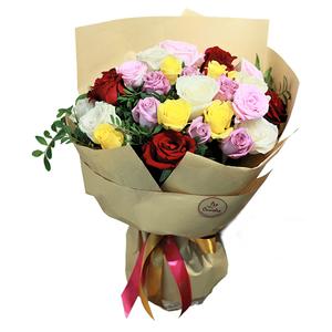 24 Rainbow Roses 24 stems