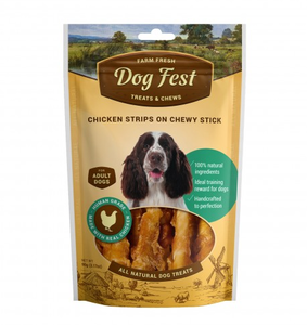 Dog Fest Chicken Strips On A Chewy Stick For Adult Dogs - 90G 90g