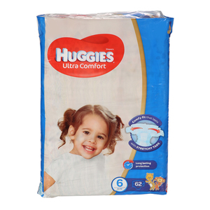 Huggies Ultra Comfort Baby Diapers Size 6 Upto 15 kg 62pcs