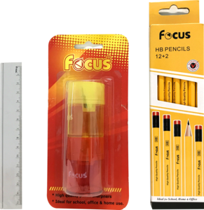 Focus Ruler With Pencil & Sharpener 1set