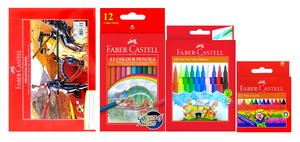 Faber Castel Drawing Book & Pencil With Color Pen & Crayons 1set