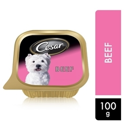 Cesar Beef Wet Dog Food Can Foil Tray 100g