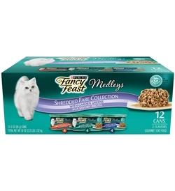 Fancy Feast Medleys Shredded Fare Wet Cat Food Variety Pack 12x85g