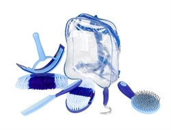 Horze Sweet Grooming Set In Carry Bag Blue/Black 1pc