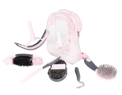 Horze Sweet Grooming Set In Carry Bag Pink/Grey 1pc