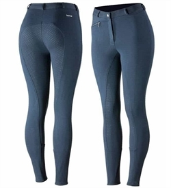 Horze Women'S Active Silicone Fs Breeches Peacock Dark Blue 36 1pc