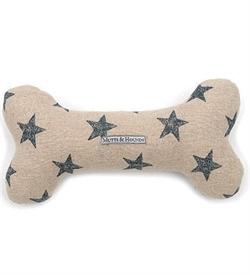 Mutts&Hounds Navy Star Linen Squeaky Bone Toy Medium 1pc