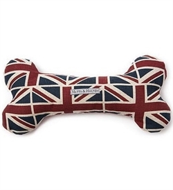 Mutts&Hounds Union Jack Linen Squeaky Bone Toy  Large 1pc