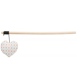 Trixie Playing Rod With Heart Wood/Fabric Catnip 35cm