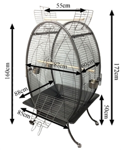 Tropical Bird Oval Parrot Cage Antrasit 1pc