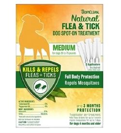 Tropiclean Flea & Tick Medium Dog Spot On Treatment 3 treatments