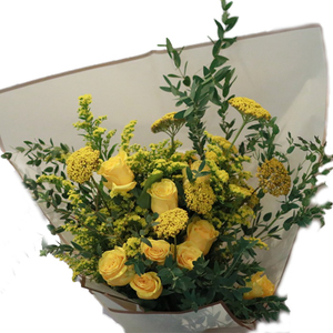 Bouquet Of Yellow Roses & Achilea 21 stems