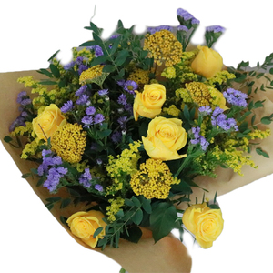 Bouquet Of Yellow Roses & Stratice 22 stems
