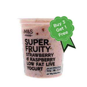 Super Fruity Low Fat Strawberry & Raspberry Yogurt 4x150g