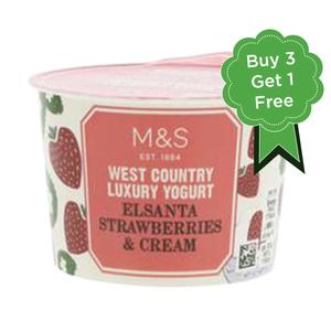 West Country Elsanta Strawberries & Cream Yogurt 4x150g