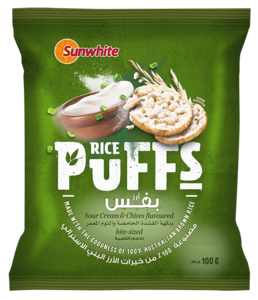 Sunwhite Rice Puffs Sour Cream And Chives 100g