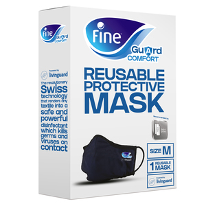 Fine Guard Comfort Adult Face Mask With Livinguard Technology Infection Prevention Medium 1pack