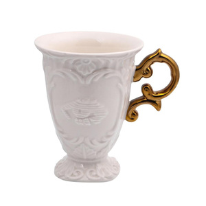 I Wares Porcelain Mug With Gold Handle 1pc