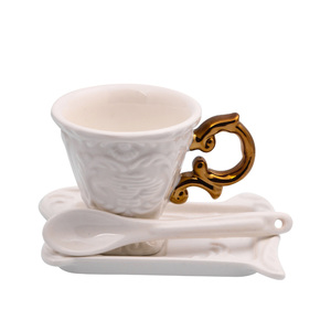 I Ware Coffee Set In Porcelain Gold Handle 1pc