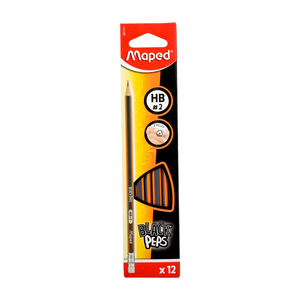 Maped Black Peps HB Pencil With Eraser MD-851721 12s