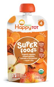 Happy Tot Organic Apple, Sweet Potato, Carrot & Cinnamon Stage 4 Super Foods 125g
