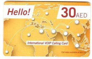 Hello International VOIP Calling Card (AED 30) 1pc