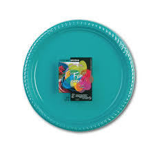 Fun Plastic Plate Turquoise 20s