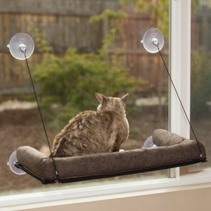 K&H Ez Mount Kitty Sill Deluxe With Bolster Chocolate 300g