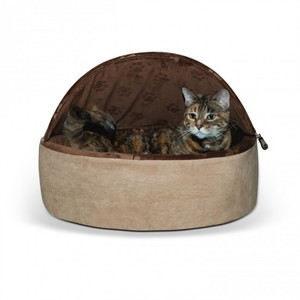 K&H Self-Warming Kitty Bed Hooded Small Chocolate/Tan 300g