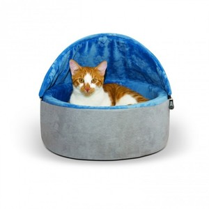 K&H Self-Warming Kitty Bed Hooded Small Blue/Gray 300g