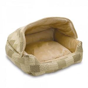 K&H Hooded Lounge Sleeper Tan Patchwork Print 300g