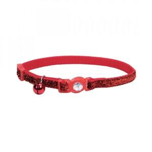 Coastal Safe Cat Jewel Buckle Glitter Overlay Collar Red 3.8inch