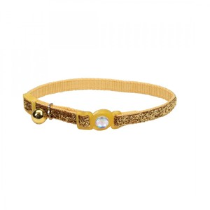 Coastal Safe Cat Jewel Buckle Glitter Overlay Collar Gold 3.8inch