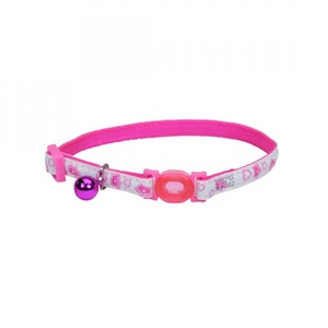 Coastal Safe Cat  Glow In The Dark Adj Collar Glowing Pink Queen 3.8inch