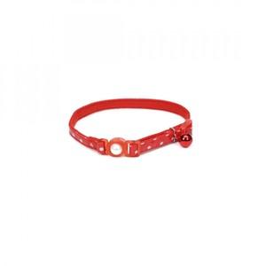 Coastal Safe Cat Fashion Collar With Polka Dot Overlay Red 3.8inch
