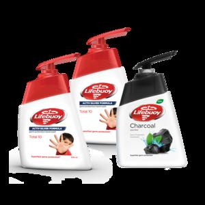 Lifebuoy Total 10 & Charcoal Handwash 2x200ml+180ml