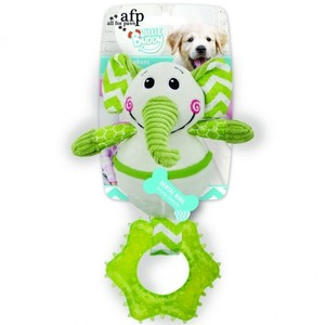 All for Paws Little Buddy Green Goofy Elephant Chewy Dog Toy 26x17x12cm