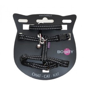 Bobby XS Black Cat Harness with Bell 1pc