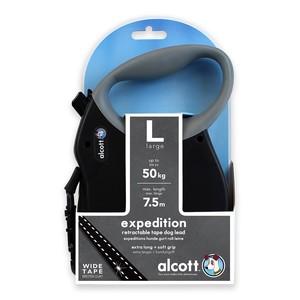 Alcott Large Black Retractable Reflective Leash for Dogs 7.3m