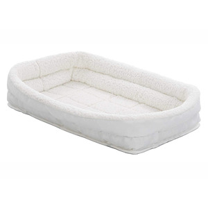 Midwest Quiet Time Deluxe White Double Bolster Pet Bed 55x40cm
