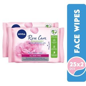 Nivea Visage 3In1 Rose Water Wipes 2x25s