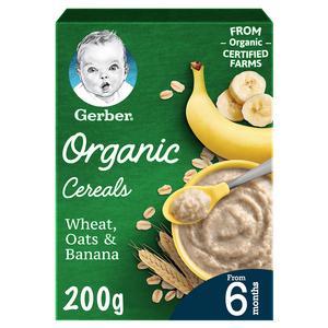 Gerber Organic Wheat Oats & Banana Infant Cereal 200g
