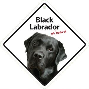 Magnet & Steel Black Labrador On Board Sign 14x14cm